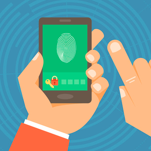 Vector security concept in flat style - hand holding mobile phone with touchscreen and fingerprint oのイラスト素材 [FYI03084212]