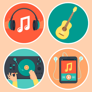Vector music icons and signs in flat style - headphones, guitar, turntable and mp3 playerのイラスト素材 [FYI03084213]