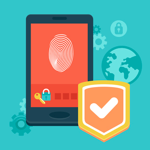 Vector mobile phone security - concept with icons in flat style - data protection and user identificのイラスト素材 [FYI03084217]