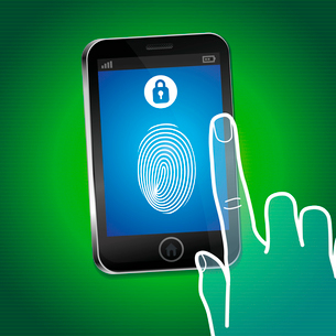 Vector security concept - hand and mobile phone with touchscreen and fingerprint on it - user identiのイラスト素材 [FYI03084230]