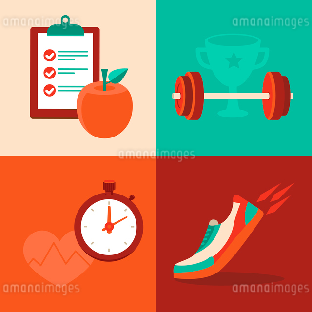 Vector fitness icons in flat trendy style - healthy food and trainingのイラスト素材 [FYI03084233]