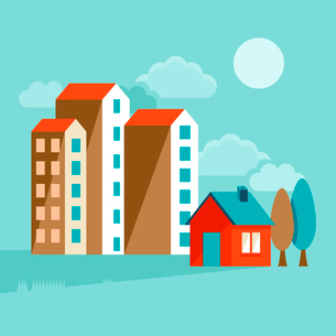 Vector icons and concepts in flat trendy style - houses illustrations and banners for real estate weのイラスト素材 [FYI03084245]