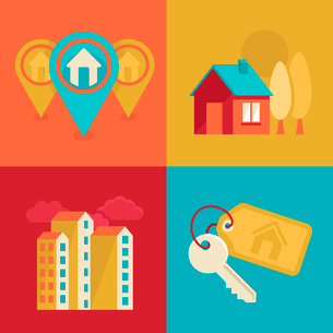 Vector icons and concepts in flat trendy style - houses illustrations and banners for real estate agのイラスト素材 [FYI03084255]