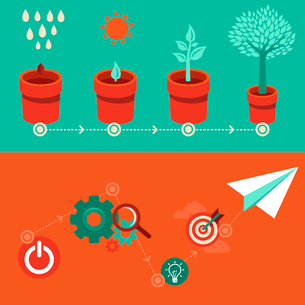 Vector growth and start up concepts in flat style - signs and banner - new businessのイラスト素材 [FYI03084256]