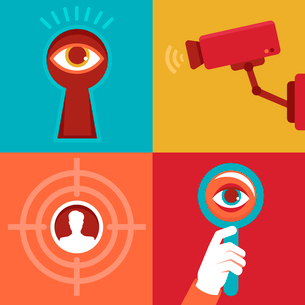 Vector surveillance and control concepts - trendy icons in flat styleのイラスト素材 [FYI03084265]