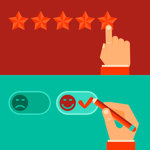Vector customer review concepts in flat style - male hand choosing positive reviewのイラスト素材 [FYI03084281]