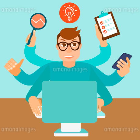 Vector self employment concept in flat style - multitasking man working on different projects from hのイラスト素材 [FYI03084293]
