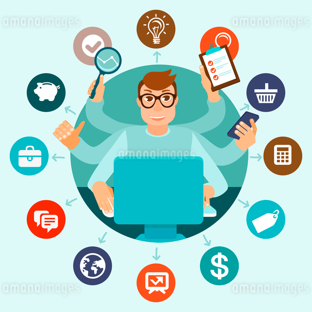 Vector self employment concept in flat style - multitasking man working on different projects from hのイラスト素材 [FYI03084295]