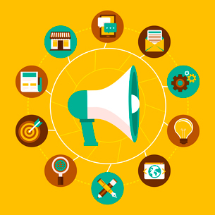 Vector internet marketing concept in flat style - megaphone and icons -online business infographic dのイラスト素材 [FYI03084332]
