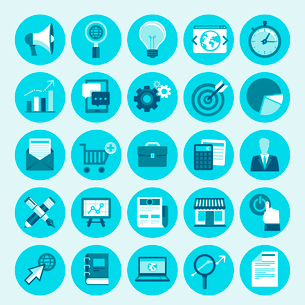 Vector trendy icon set in flat style - internet marketing, online business and digital commerce desiのイラスト素材 [FYI03084337]