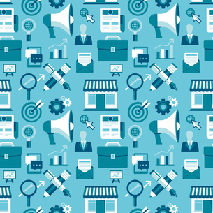 Vector seamless pattern with marketing icons in flat style - blue texture for website or appのイラスト素材 [FYI03084339]