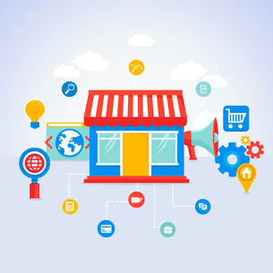 Vector online shopping concept - internet marketing and buisness icons and design elements in flat sのイラスト素材 [FYI03084342]