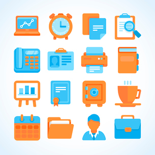 Flat vector icon set office and business symbols, finance and business design elements and suppliesのイラスト素材 [FYI03084360]
