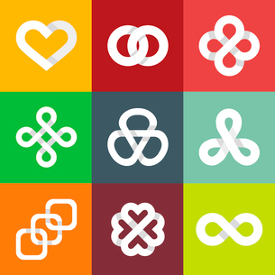 Design vector logo templates - infinity lines and symbols - white ribbons and iconsのイラスト素材 [FYI03084362]