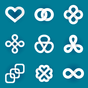 Design vector logo templates - infinity lines and symbols - white ribbons and iconsのイラスト素材 [FYI03084364]