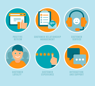 Vector flat customer experience concepts - icons and infographic design elements - positive review,のイラスト素材 [FYI03084366]