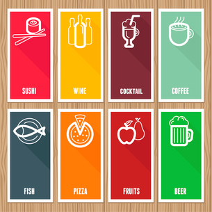 Vector flat banners with cafe and restaurant icons  on wooden backgroundのイラスト素材 [FYI03084369]