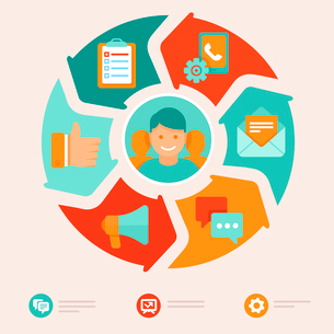 Vector flat customer service concept - icons and infographic design elements - client experienceのイラスト素材 [FYI03084370]