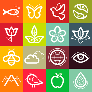 Vector set of design elements and logo symbols - ecology and nature related icons and emblemsのイラスト素材 [FYI03084371]