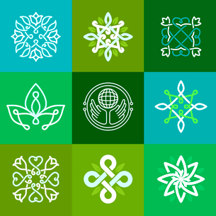 Vector abstract ecology symbols - outline emblems and green signsのイラスト素材 [FYI03084376]