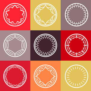 vector outline frames - abstract monogram templates - logo and badge templatesのイラスト素材 [FYI03084378]