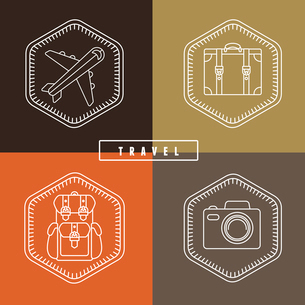 Vector flat travel badges and emblems in outline styleのイラスト素材 [FYI03084379]