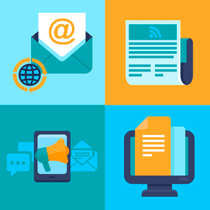 Vector email marketing concepts - flat trendy icons - newsletter and subscriptionのイラスト素材 [FYI03084380]