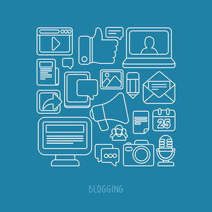 Vector concept in flat style with trendy outline icons - blogging and writing for websiteのイラスト素材 [FYI03084381]
