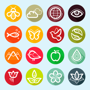 Vector set of design elements and logo symbols - ecology and nature related icons and emblemsのイラスト素材 [FYI03084382]