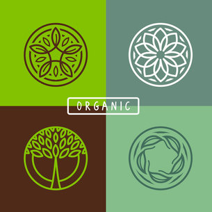 Vector abstract emblem - outline monogram - ecology sign and iconsのイラスト素材 [FYI03084389]
