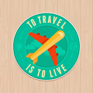 VEctor vintage badge with quote and flat icon - travel labelのイラスト素材 [FYI03084396]