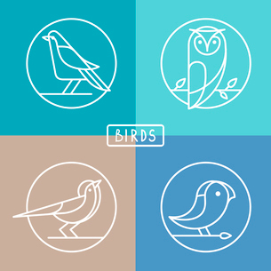 Vector bird icons in outline style - sparrow, owl and pigeon - abstract icons and emblemsのイラスト素材 [FYI03084405]