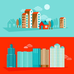 Vector city illustration in flat simple style - houses and buildings on horizontal banners - websiteのイラスト素材 [FYI03084413]