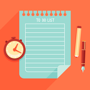 Vector illustration in flat style - to do list on notebook pageのイラスト素材 [FYI03084417]