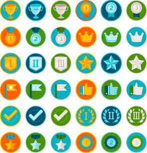 Vector set of 36 flat gamification icons - achievement badges in trendy style for apps and websites,のイラスト素材 [FYI03084427]