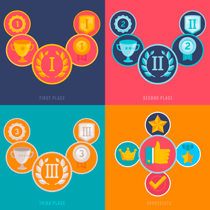 Vector gamification icons and signs in flat style - first, second and third places and prizes - achiのイラスト素材 [FYI03084430]
