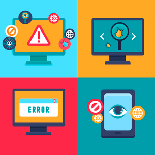 Vector flat icons and illustrations - internet security and virus warning - computer attack and viruのイラスト素材 [FYI03084432]