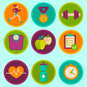 Vector set of fitness icons and achievement  badges in flat style - healthy lifestyle and dietingのイラスト素材 [FYI03084433]