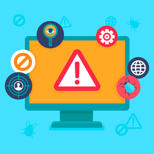 Vector flat icons and illustrations - internet security and virus warning - computer attack and viruのイラスト素材 [FYI03084434]