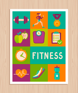 Vector set of fitness icons and achievement  badges in flat style - healthy lifestyle and dietingのイラスト素材 [FYI03084435]