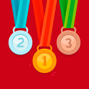 Vector three winning places concept - golden, silver and bronze medals in flat styleのイラスト素材 [FYI03084436]