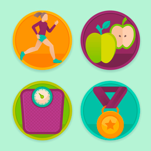 Vector set of fitness icons and achievement  badges in flat style - healthy lifestyle and dietingのイラスト素材 [FYI03084437]