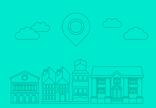 Vector building icons in outline style - city conceptのイラスト素材 [FYI03084441]