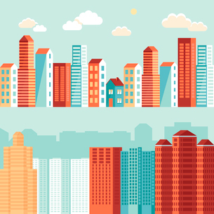 Vector city illustration in flat simple style - houses and buildings on horizontal banners - websiteのイラスト素材 [FYI03084442]
