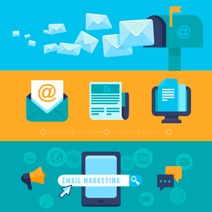 Vector email marketing concepts - flat trendy icons - newsletter and subscription - bright illustratのイラスト素材 [FYI03084443]