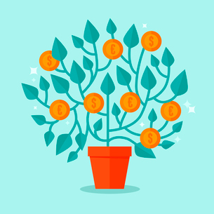 Vector money tree concept in flat style - green plant with coins on the branches - investment concepのイラスト素材 [FYI03084444]