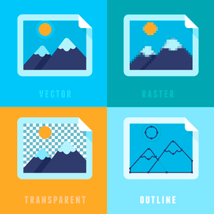 Vector flat icons - different image formats and styles - raster, vector, transparent and outline imaのイラスト素材 [FYI03084448]