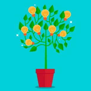 Vector tree concept in flat style - green plant with light bulbs on the branches - idea conceptのイラスト素材 [FYI03084451]