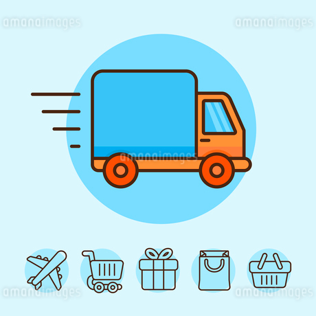 Vector delivery concept in flat style - truck icon - shipping and online shoppingのイラスト素材 [FYI03084453]