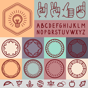 Vector set of outline design elements - graphic design set for emblems and badgesのイラスト素材 [FYI03084454]